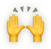 Emoji icon of two hands cheering.