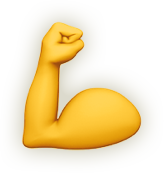 Emoji icon of a strong arm.
