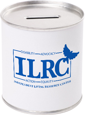 Photo of a donation can with the ILRC logo.